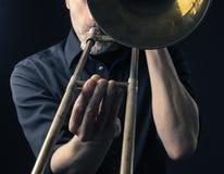 Free Playing Trombone, Close Up Shot Royalty Free Stock Photos - 85671608