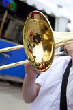 Playing trombone Royalty Free Stock Images