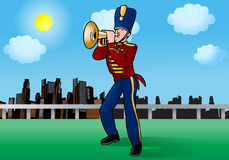 Playing trumpet. Man in uniform suit standing and playing trumpet melody vector illustration