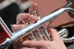 Playing the Trumpet Royalty Free Stock Photos
