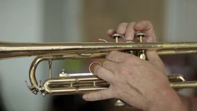 Playing the trumpet close-up stock footage