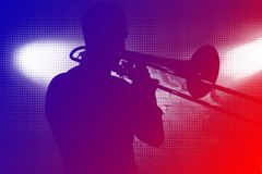Playing trumpeter Royalty Free Stock Photo