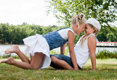 Playing twins royalty free stock photography