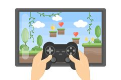 Playing video game. Playing video game on big screen with controller on white background vector illustration