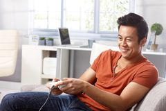 Playing video game Stock Image