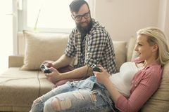 Playing video games Royalty Free Stock Image