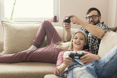 Playing video games Stock Photos
