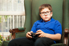 Playing video games at home Stock Photography