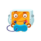 Playing Video Games Little Robot Character. Simple Flat Vector Icon In Childish Cute Style Isolated On White Background Stock Image