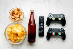 Playing video games set with chips on white background top view mock-up Stock Images