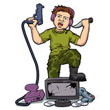 Playing Violent Video Games. Vector illustration Royalty Free Stock Images