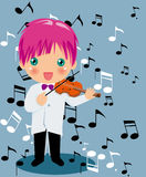 Playing violin boy. Vector illustration of Playing violin boy Royalty Free Stock Photos