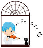 Playing violin boy. Vector illustration of boy playing the violin in the window Royalty Free Stock Photos
