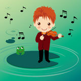 Playing violin boy on waterlily. Playing violin boy and frog on waterlily Stock Photo