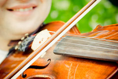 Playing violin, close-up Stock Photography