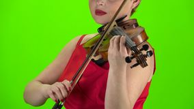 Playing the violin close up. Green screen stock video
