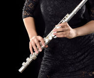 Playing flute Royalty Free Stock Photos