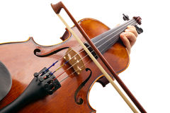 Playing Violin on white backround Royalty Free Stock Photos