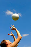 Playing volleyball stock image