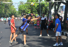 Playing volleyball in the streets Royalty Free Stock Photo