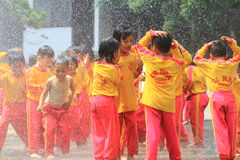 Playing Water Spray Fire Royalty Free Stock Photography