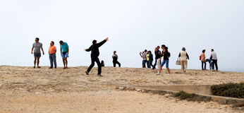 Playing with wind, Cabo de Sao Vicente, Portugal Royalty Free Stock Image