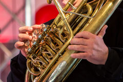 Playing wind instrument on concert. In Germany Stock Images