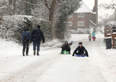Playing in the winter snow royalty free stock images