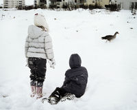 Playing in Winter. Two children playing with goose in winter Royalty Free Stock Image