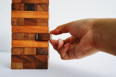 Playing the wood blocks Stock Image