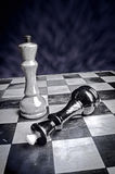 Playing wooden chess pieces game over Stock Images