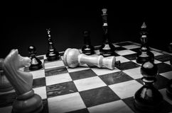 Playing wooden chess pieces - game over Royalty Free Stock Photography