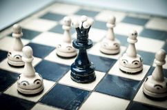 Playing wooden chess pieces, game over Royalty Free Stock Photos
