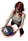 Playing with The World 05. 3D photorealistic rendering of a woman play with the earth on a white background. Red halo Stock Photos