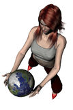Playing with The World 06. 3D photorealistic rendering of a woman play with the earth on a white background Royalty Free Stock Photos