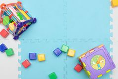 On the playmat. Toys for young children. educational toys. Early development royalty free stock photos