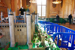 Playmobil Exposition Winter 2015 / 2016. A medieval castle at a Playmobil exposition in a Town Hall in France. Levallois-Perret. December 28, 2015 Royalty Free Stock Images