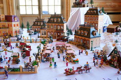 Playmobil Town in Winter Stock Photography