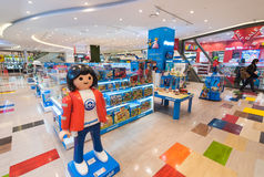 Playmobil toys at store, Seoul. SEOUL - MARCH 29, 2017: Playmobil toys for sale in the Hyundai IPark shopping mall. Playmobil is a line of toys produced in royalty free stock photos
