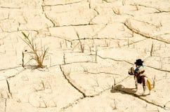 Playmobilsheriff en paard die zich in woestijn bevinden Royalty-vrije Stock Foto