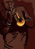 Playng de la trompeta stock de ilustración