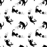 Playng koty monochromu bezszwowy deseniowy Zdjęcie Stock