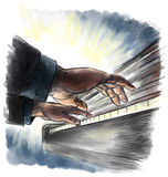 Playng the piano. Hand drawing illustration Royalty Free Stock Photo