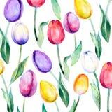Playnig mit Leuchte Blumentulpen über Weiß Blumenfrühling Vektormuster Tulpenmuster Lizenzfreie Stockfotos