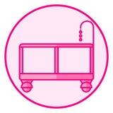 Playpen Розовый значок младенца на белой предпосылке иллюстрация штока