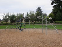 Playplace for kids in a park. An empty play place for children royalty free stock images
