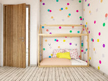 Playroom interior. A 3d image of a boy room interior, children room interior, playroom Royalty Free Stock Photography