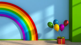 Playroom with rainbow Stock Image