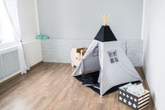 Playroom with Teepee. Light Playroom for kids with Teepee tent Stock Images