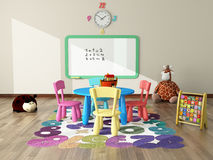 Playroom with toys and plush. Sweet interior decor render for kids room Stock Photos